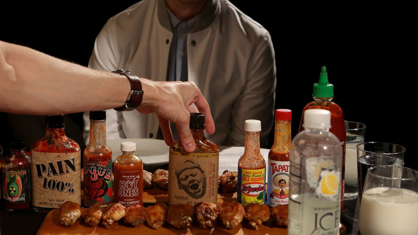 Hot Ones Sauces  This guy eats hot wings with celebrities for a living