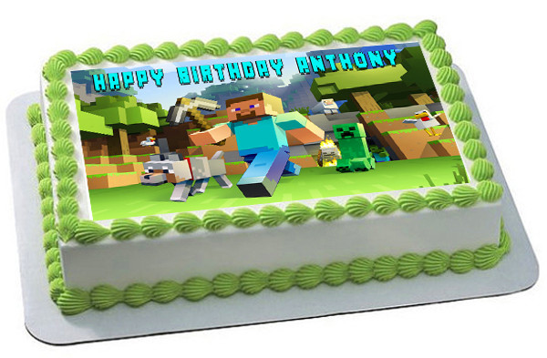 How Big Is A 1/4 Sheet Cake  MINECRAFT Characters 2 Edible Birthday Cake Topper