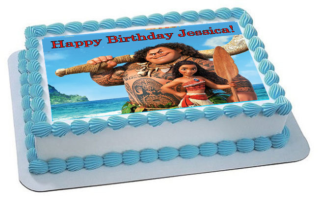 How Big Is A 1/4 Sheet Cake  Moana 3 Edible Birthday Cake Topper