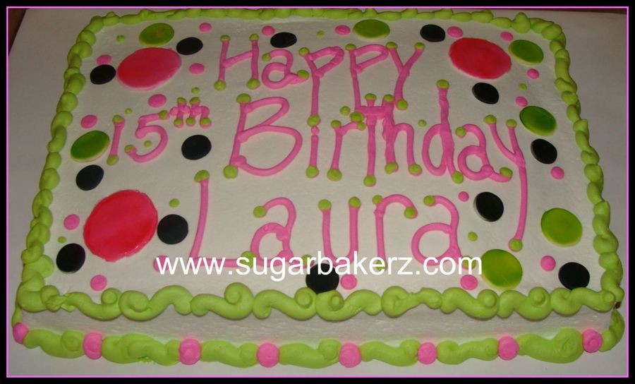 How Big Is A 1/4 Sheet Cake  Polka Dot Sheet Cake CakeCentral