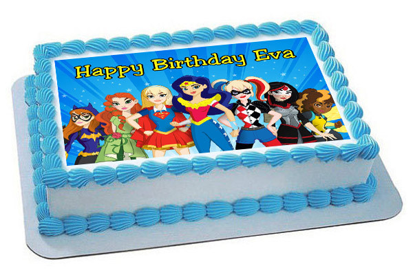 How Big Is A 1/4 Sheet Cake  DC Superhero Girls Edible Birthday Cake Topper