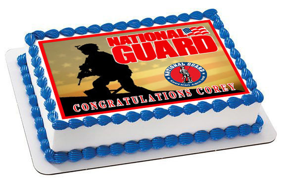 How Big Is A 1/4 Sheet Cake  National Guard Edible Birthday Cake Topper