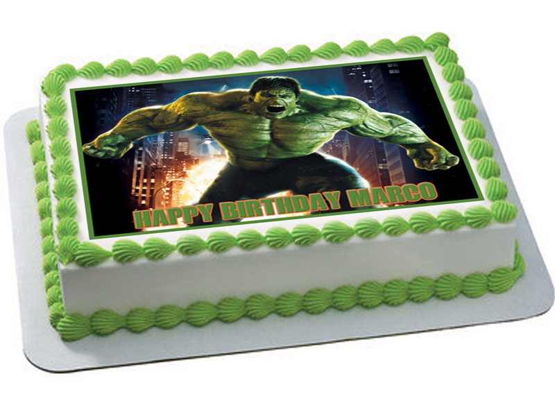 How Big Is A 1/4 Sheet Cake  Hulk Edible Birthday Cake Topper