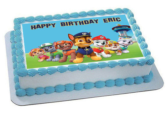 How Big Is A 1/4 Sheet Cake  Paw Patrol 6 Edible Birthday Cake Topper