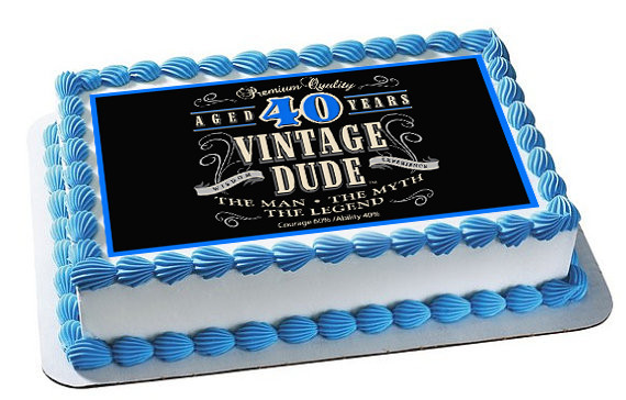 How Big Is A 1/4 Sheet Cake  Vintage Dude 40th Green Edible Birthday Cake Topper