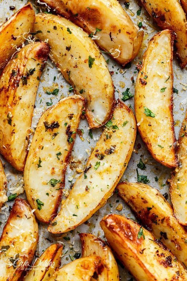 How Long To Bake Potato Wedges  Oven Fried Garlic Chive Potatoes VEGAN