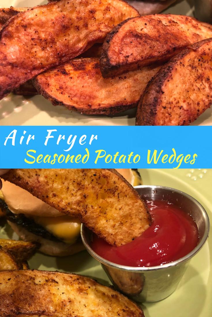 How Long To Bake Potato Wedges  Seasoned Crispy Potato Wedges Air Fryer Recipe She