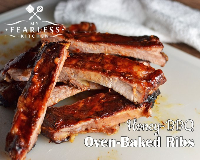 How Long To Cook Pork Ribs In Oven  Honey BBQ Oven Baked Ribs My Fearless Kitchen