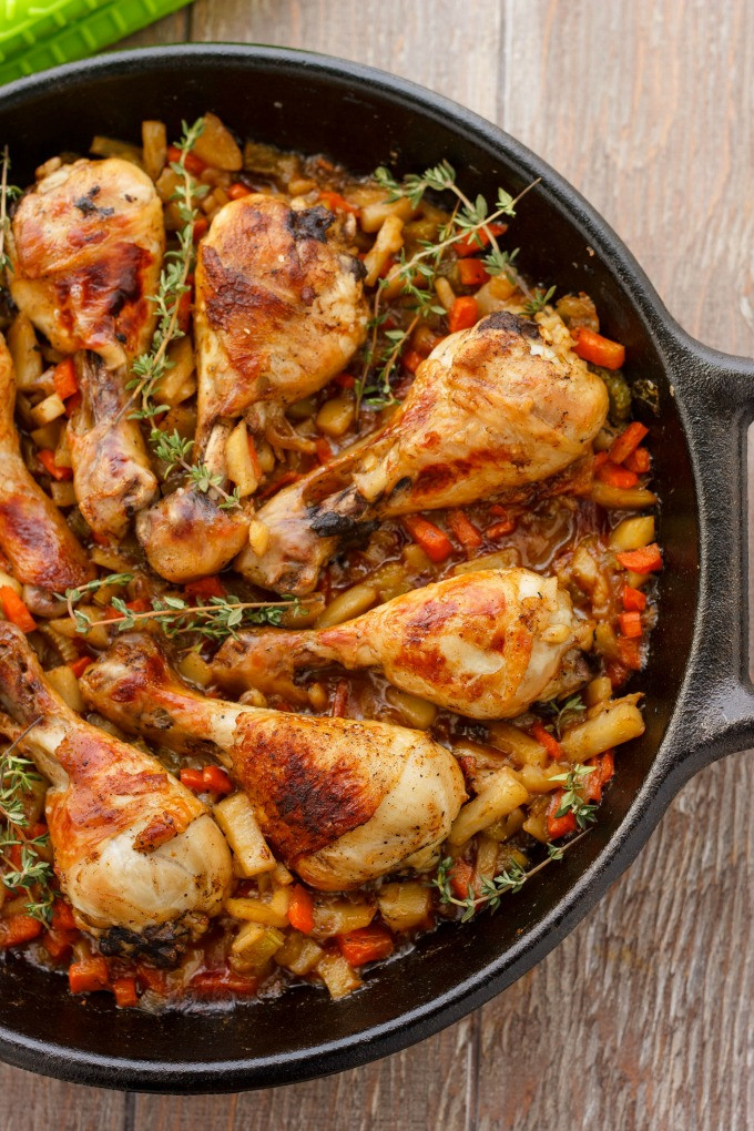 How Long To Pan Fry Chicken Thighs  Pan Seared Chicken Drumsticks with Ve ables The Cookie