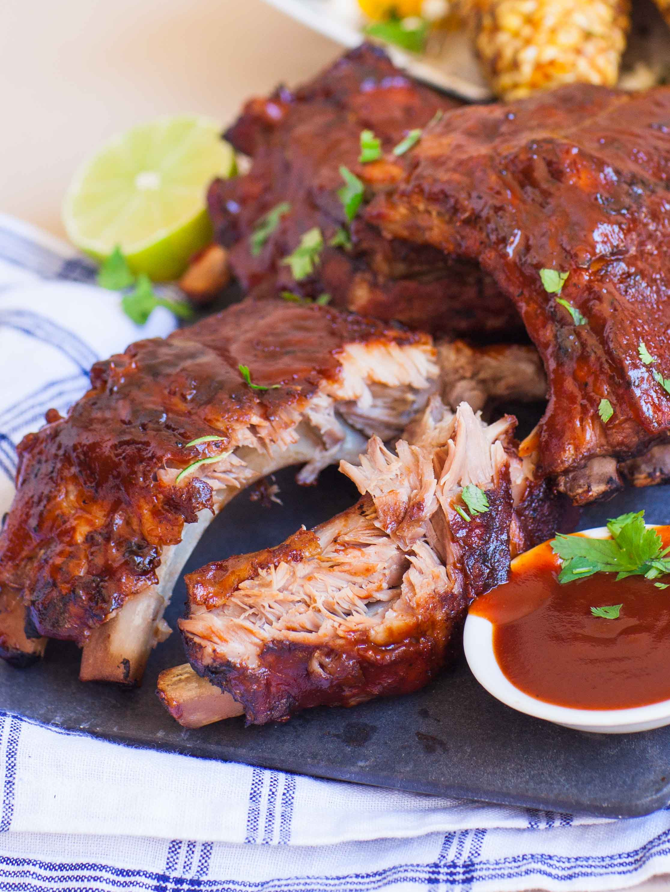 How To Bbq Pork Ribs  BBQ Pork Ribs with Grilled Corn Tatyanas Everyday Food