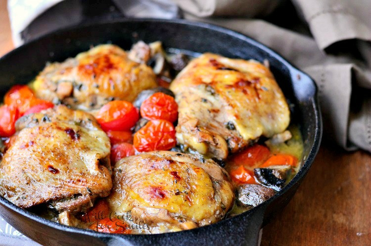 How To Cook Chicken Thighs On Stove  Roasted Chicken Thighs with Tomatoes and Mushrooms Will