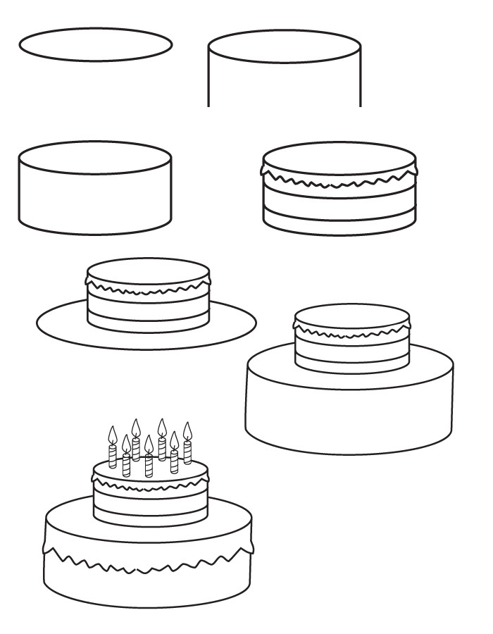 How To Draw A Birthday Cake  Drawing birthday cake