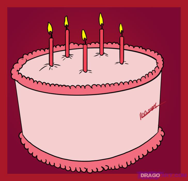 How To Draw A Birthday Cake  How to Draw a Birthday Cake Step by Step Food Pop