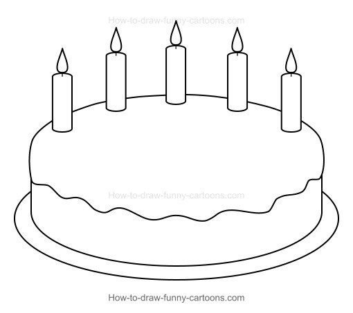 How To Draw A Birthday Cake  How to Draw A Cartoon Birthday Cake