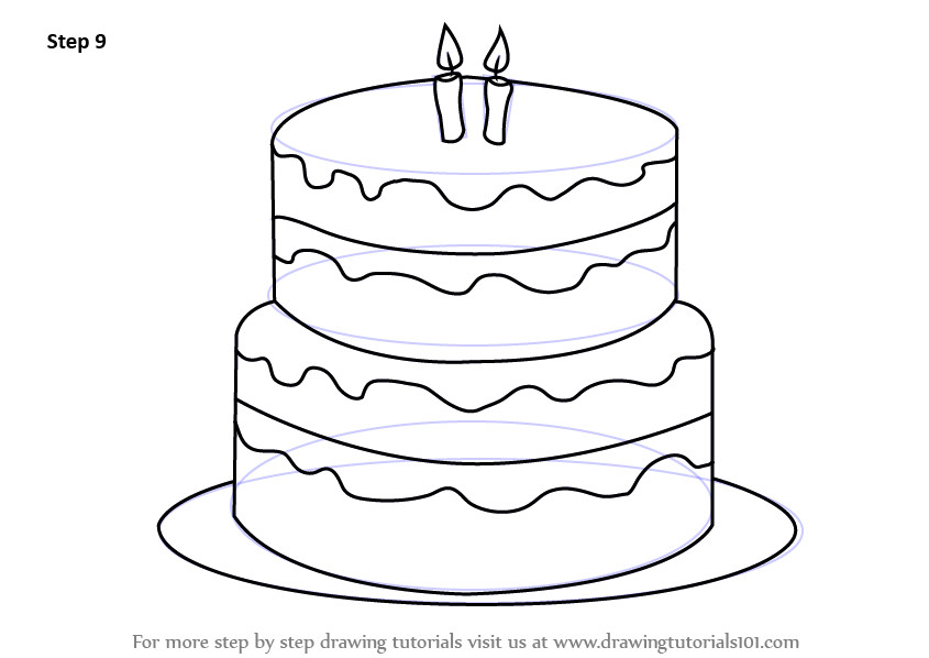 How To Draw A Birthday Cake  Learn How to Draw a Birthday Cake Cakes Step by Step
