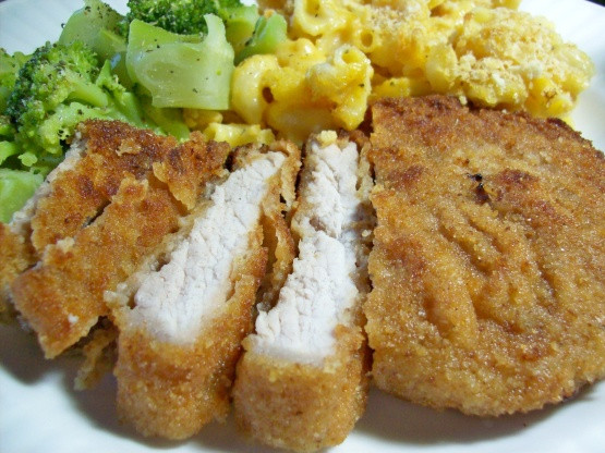 How To Fry Pork Chops Without Flour  Breaded Pork Chops Recipe Genius Kitchen