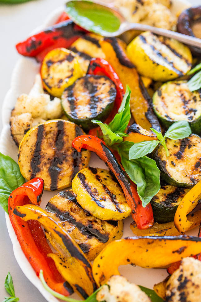 How To Grill Squash  Grilled Ve ables with Basil Vinaigrette Averie Cooks