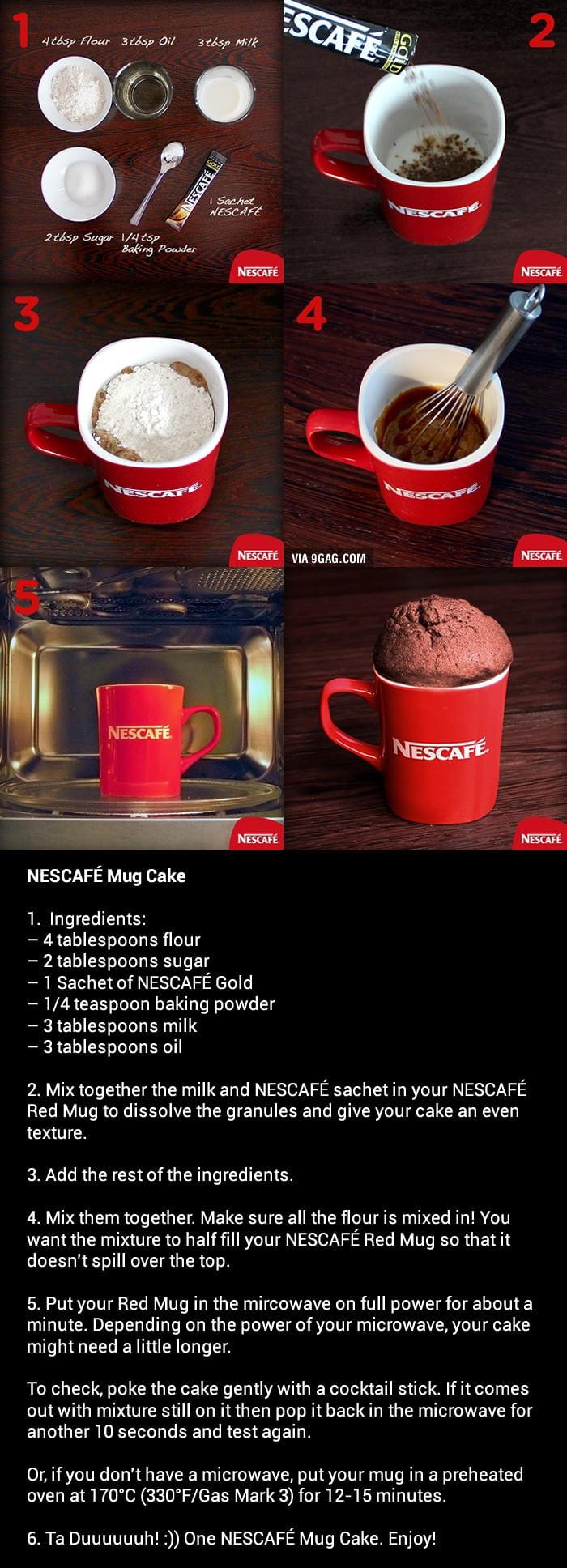 How To Make A Mug Cake  How To Make A NESCAFÉ Mug Cake 9GAG