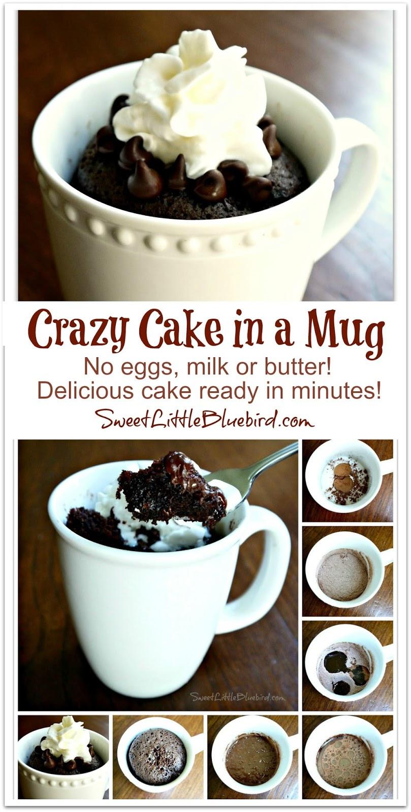 How To Make A Mug Cake  Sweet Little Bluebird Crazy Cake in a Mug No Eggs Milk