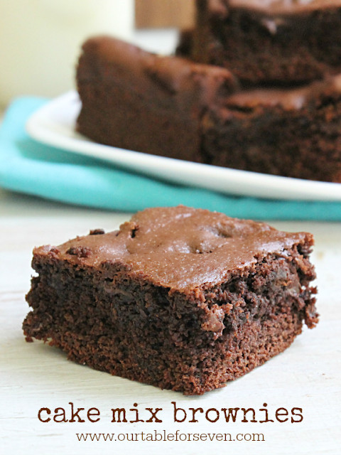How To Make Brownies Out Of Cake Mix  Cake Mix Brownies • Table for Seven
