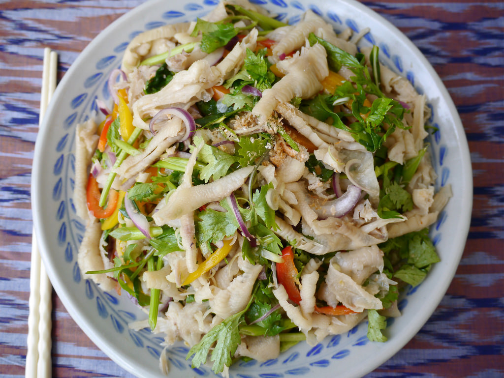 How To Make Chicken Salad  How to make yum tien gai Lao chicken feet salad recipe