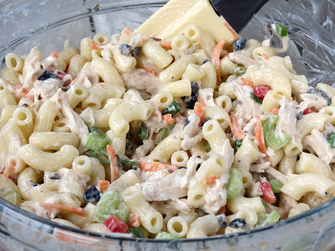 How To Make Chicken Salad  Chicken Macaroni Salad Yummy Addiction