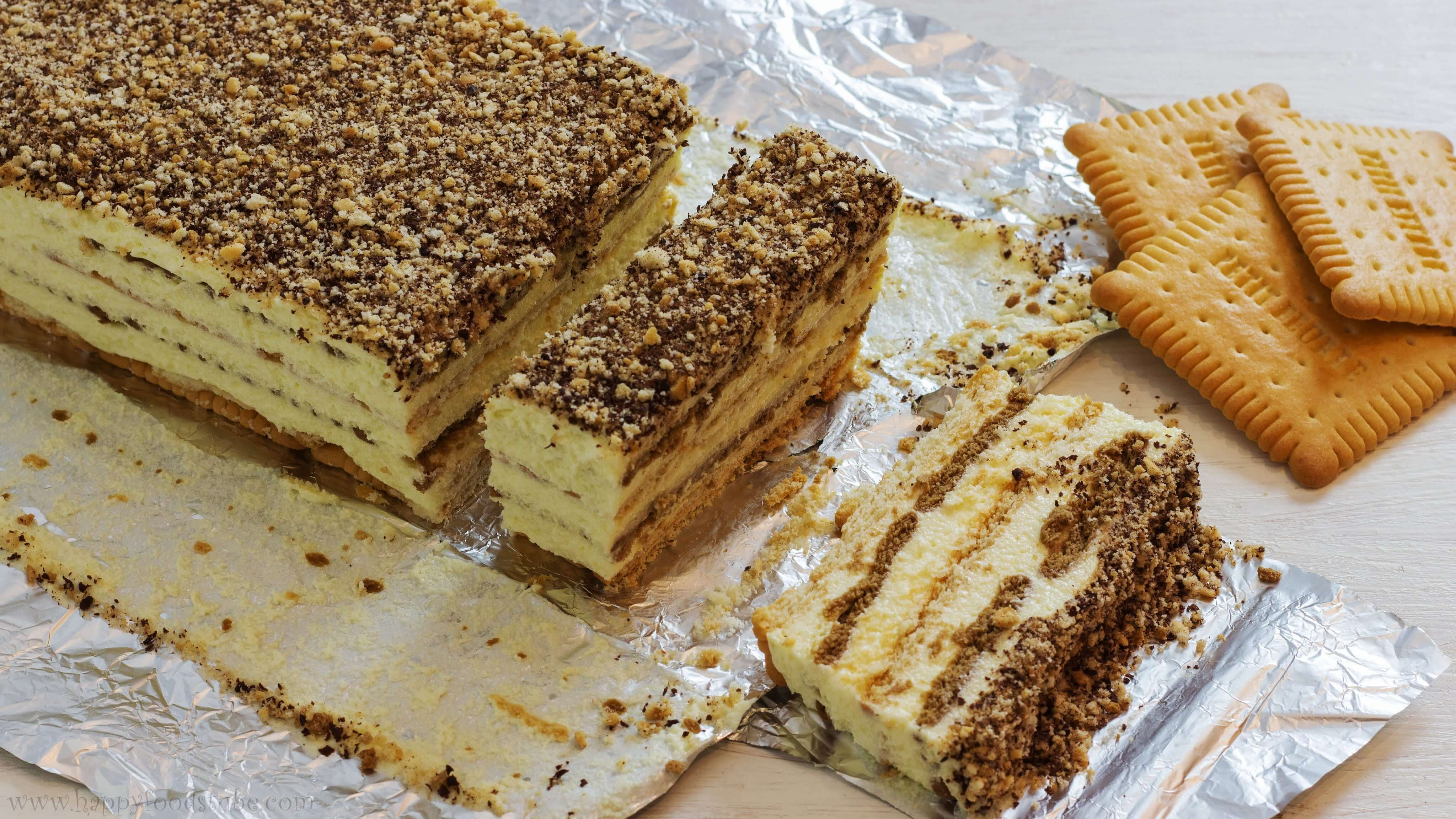 How To Make Desserts  The Easiest To Make Biscuit Cake With Pudding Filling