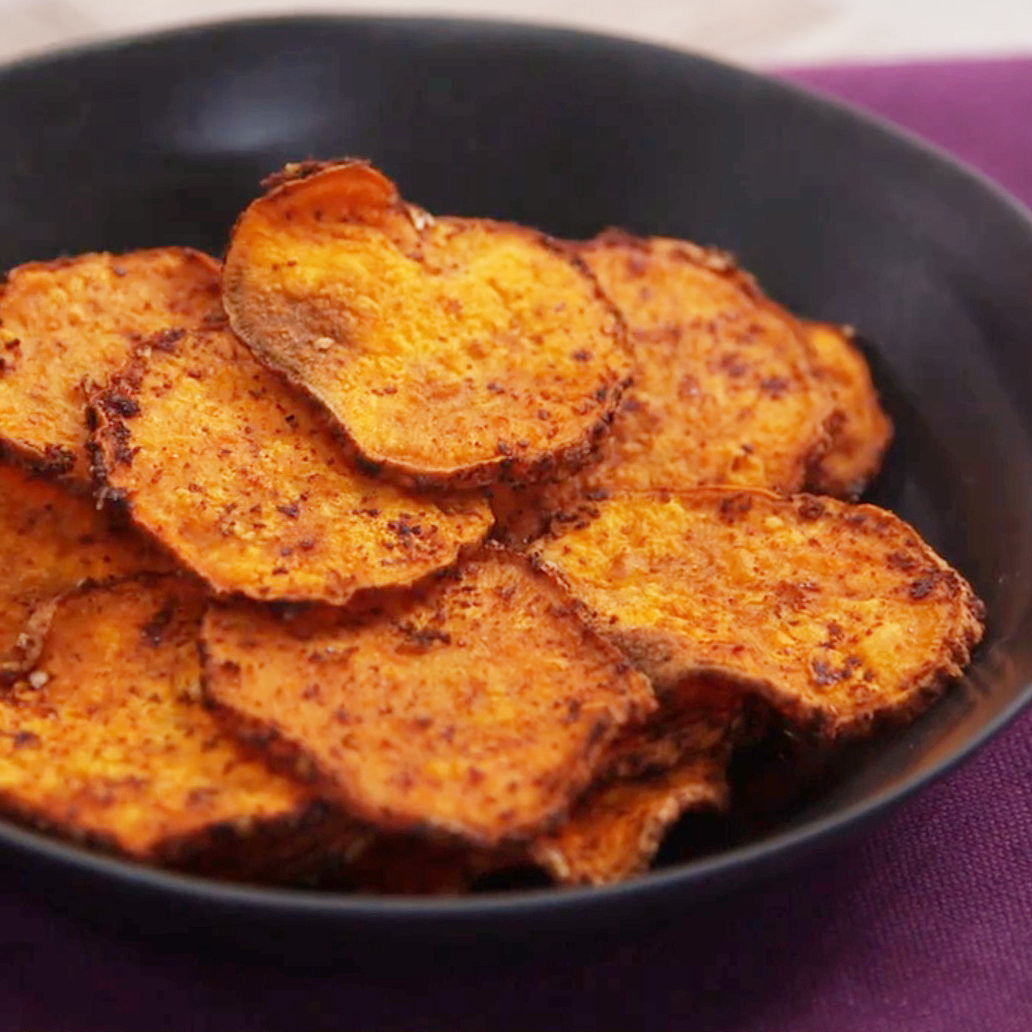 How To Make Potato Chips In The Oven  How to Make Oven Roasted Sweet Potato Chips Food