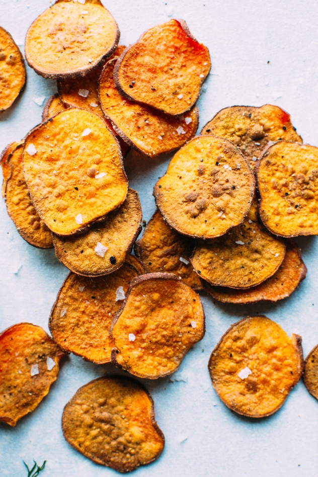 How To Make Potato Chips In The Oven  oven baked sweet potato chips with dairy free ranch dip