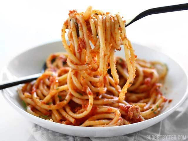How To Make Spaghetti Sauce With Tomato Sauce  Pasta with 5 Ingre nt Butter Tomato Sauce Bud Bytes