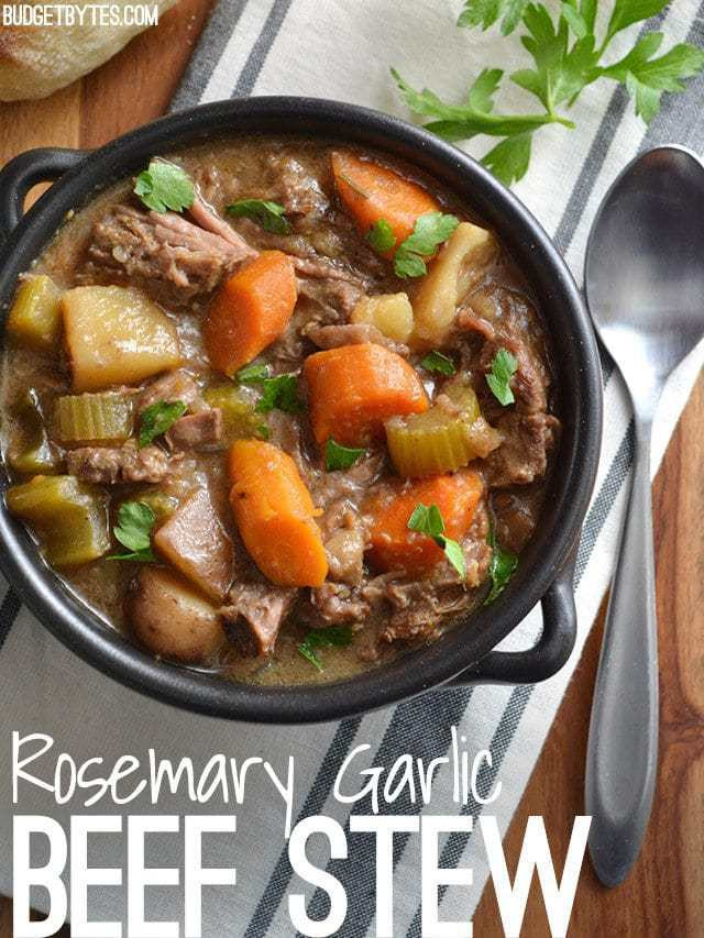How To Make Stew  Slow Cooker Rosemary Garlic Beef Stew Bud Bytes