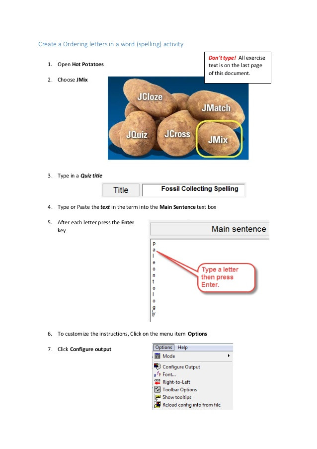 How To Spell Potato  Hot Potatoes Sequence Letters Spelling words