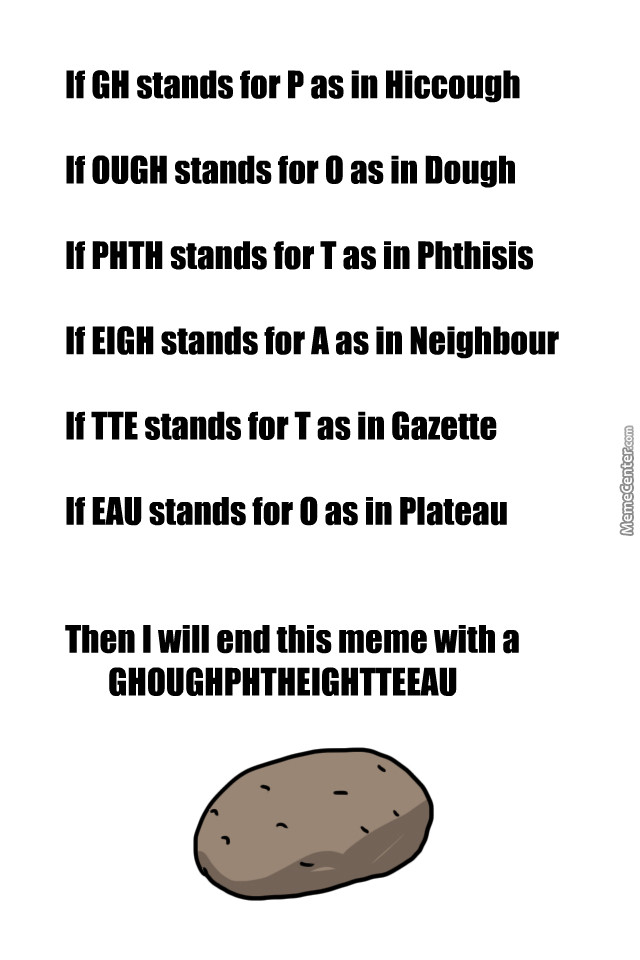 How To Spell Potato  The Correct Way To Spell Potato by liberater man Meme Center