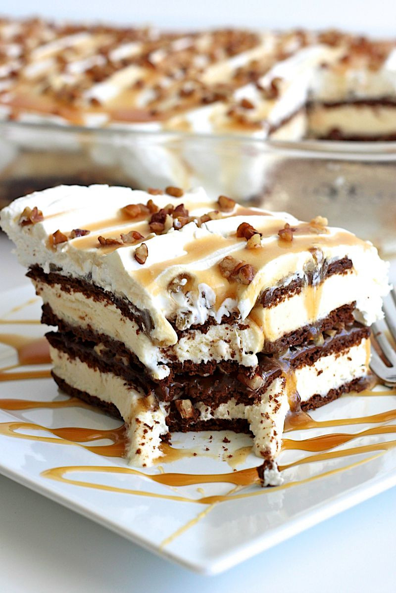 Ice Cream Sandwich Desserts Recipes  Caramel Pecan Ice Cream Sandwich Cake