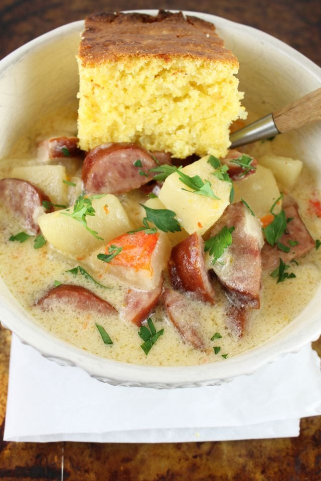 Idaho Potato Recipes  Slow Cooker Cheesy Smoked Sausage and Idaho Potato Soup