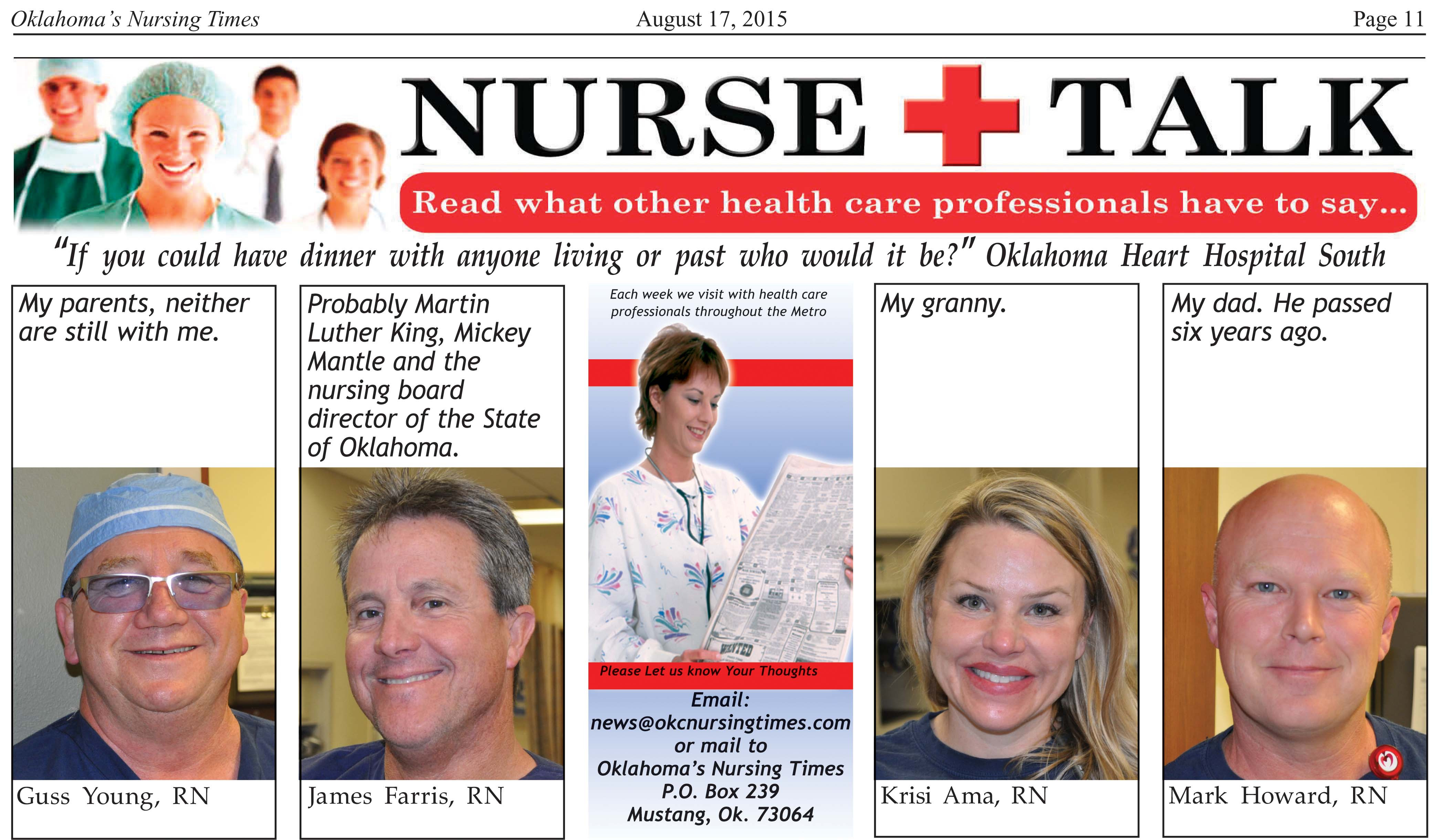 """If You Could Have Dinner With Anyone  NURSE TALK """"If you could have dinner with anyone living"""