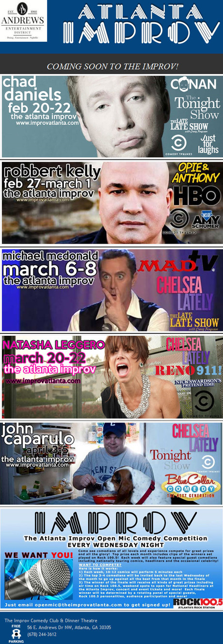 Improv Comedy Club And Dinner Theatre Events  The Improv edy Club & Dinner Theatre Announces Up ing
