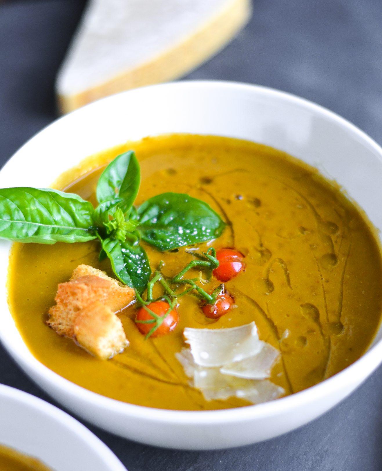 Ina Garten Tomato Soup  Creamy Dairy Free Roasted Tomato Basil Soup