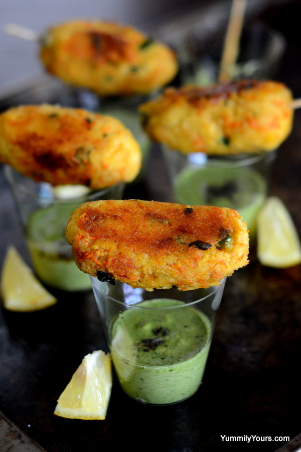 Indian Appetizers For Party  COCKTAIL IDLI KEBABS WITH CHUTNEY SHOTS Yummily Yours