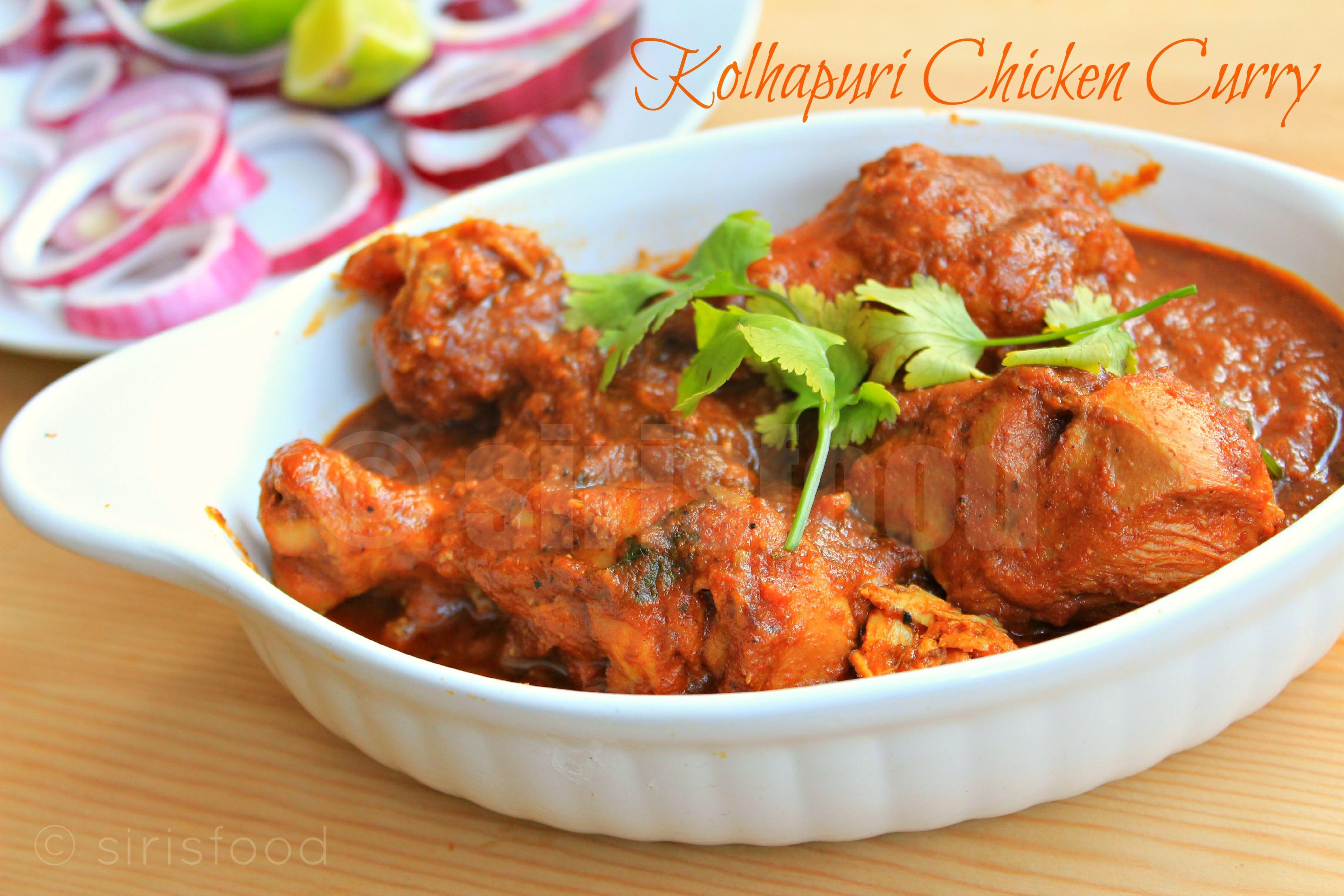 Indian Chicken Recipes  Kolhapuri Chicken Curry Indian Chicken Recipes Sirisfood