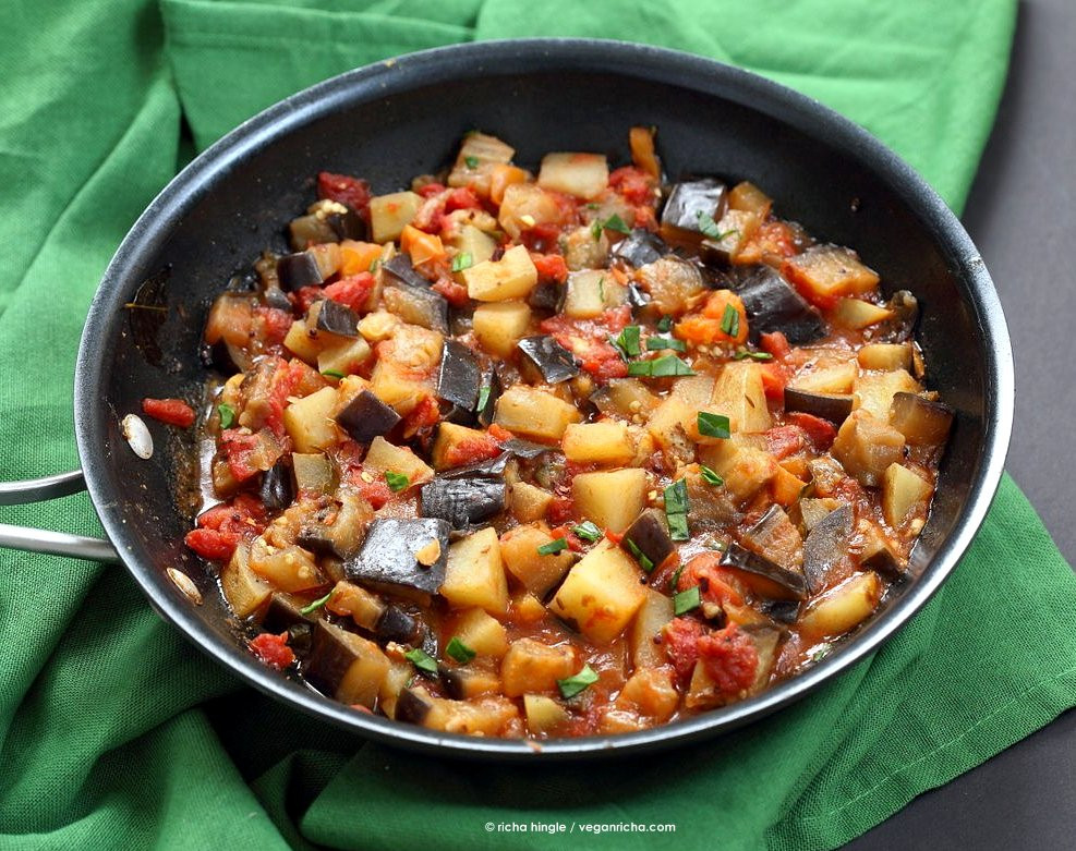 Indian Eggplant Recipes  Aloo Baingan Recipe Potato Eggplant Curry Vegan Richa