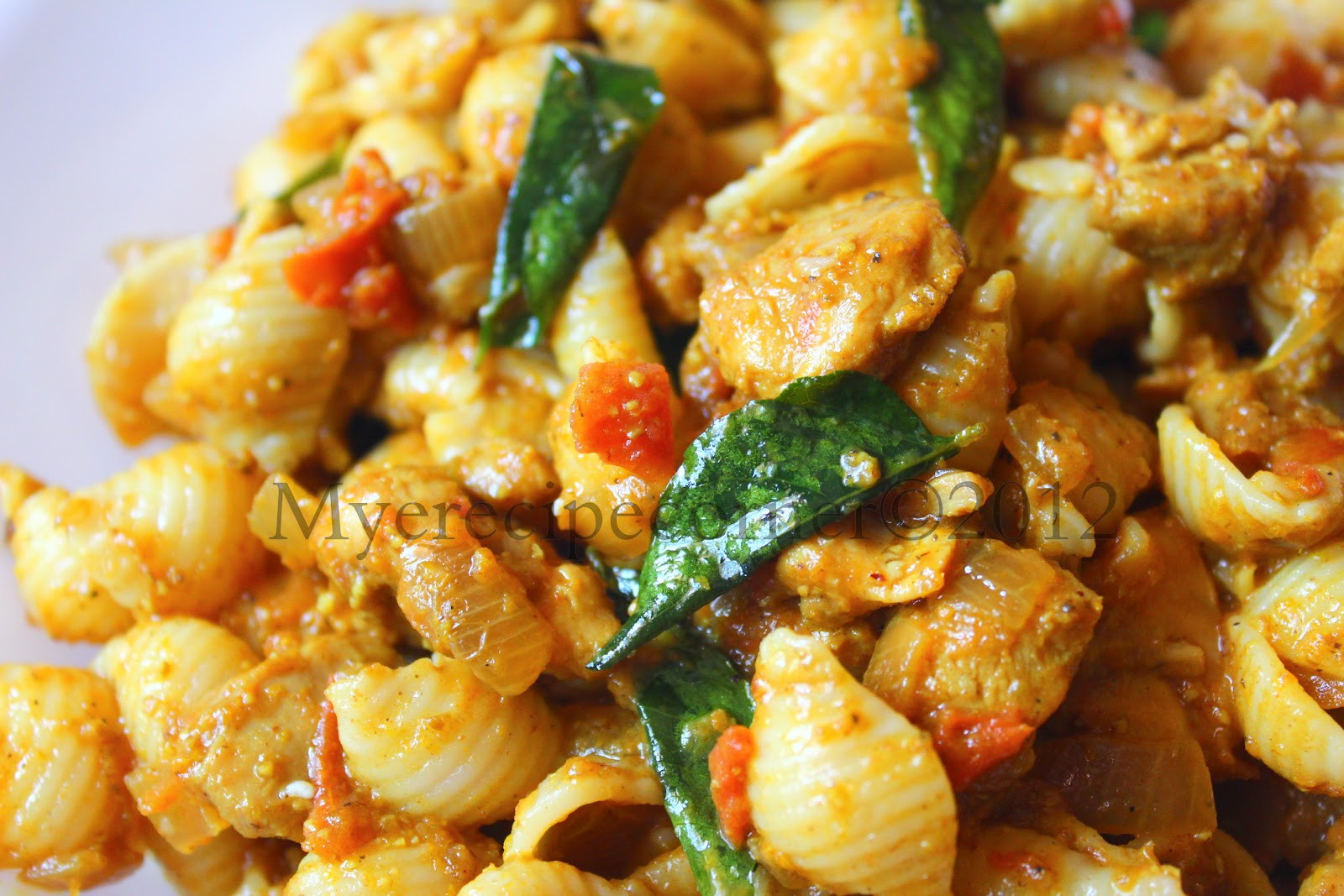 Indian Pasta Recipes  Mye s Kitchen Indian style Chicken Pasta Recipe