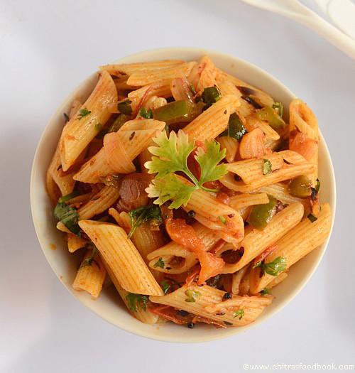 Indian Pasta Recipes  INDIAN STYLE MASALA PASTA RECIPE VEGETARIAN EASY PASTA