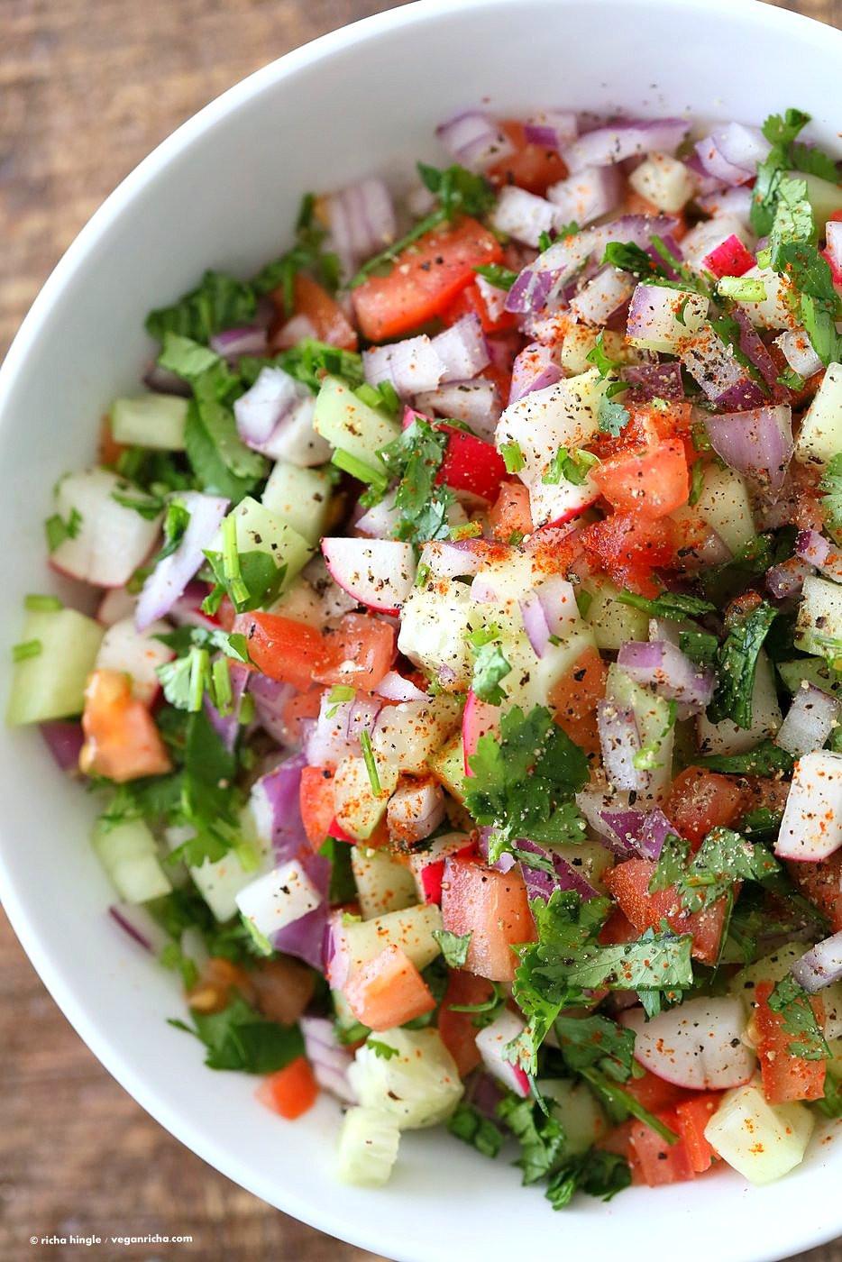 Indian Salad Recipes  Kachumber Salad Cucumber Tomato ion Salad Recipe