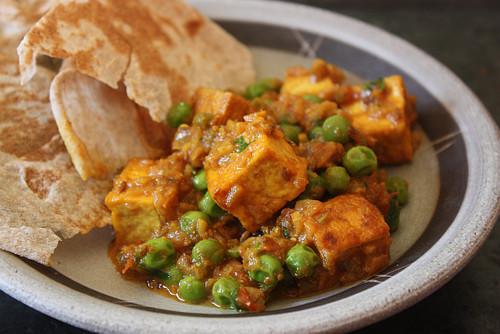 Indian Tofu Recipes  Matar Soy Paneer Recipe Peas and Tofu in Spicy Sweet