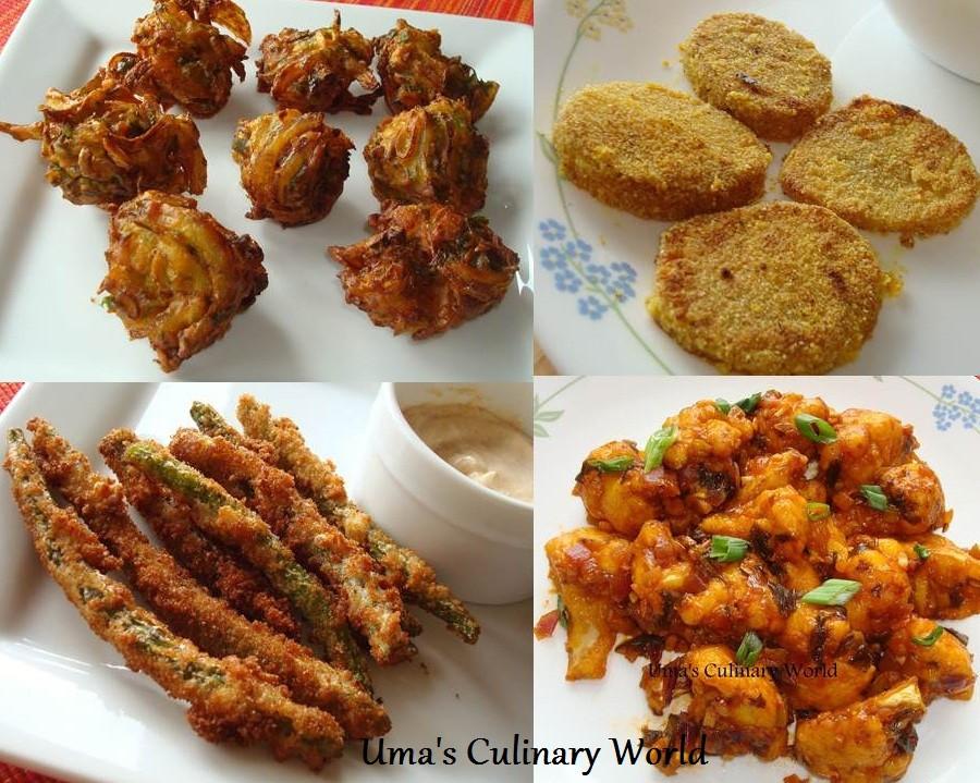 Indian Veg Appetizers  Uma s Culinary World Ve arian