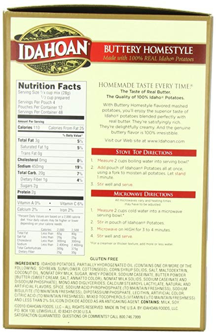 Instant Mashed Potatoes Directions  instant mashed potatoes nutrition