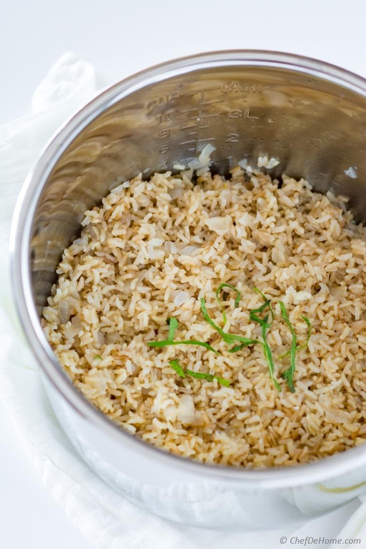 Instant Pot Brown Rice Recipe  Instant Pot Garlic Brown Rice Recipe