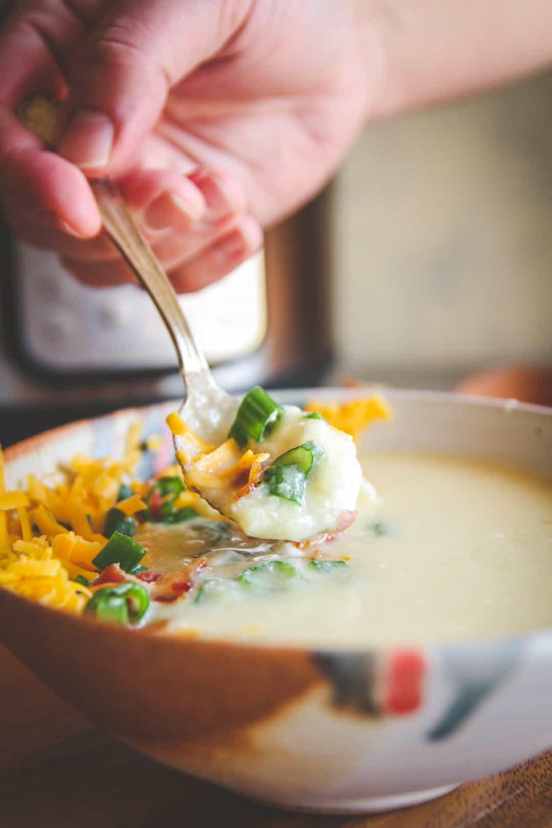 Instant Pot Potato Soup  The Best Healthy Instant Pot Baked Potato Soup Recipe