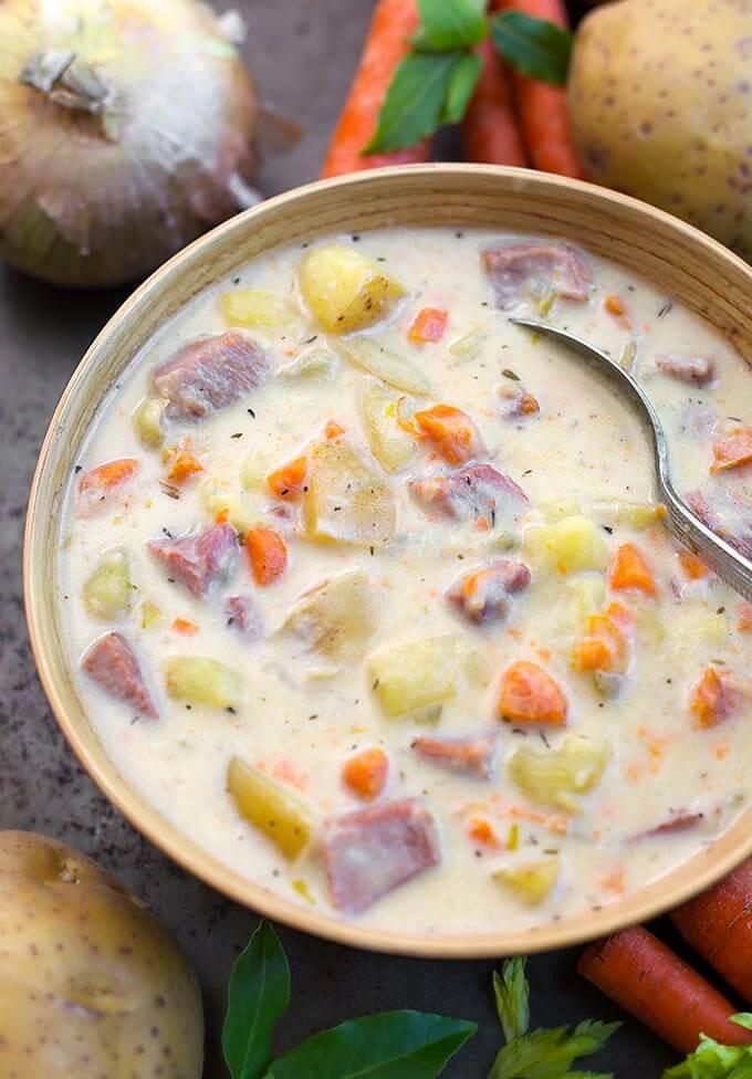 Instant Pot Potato Soup  Instant Pot Potato Ham Soup